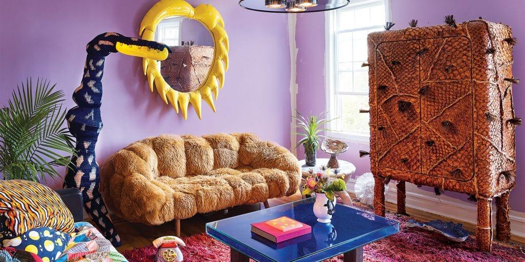 Misha Kahn's apartment with Platypus Akimbo lamp