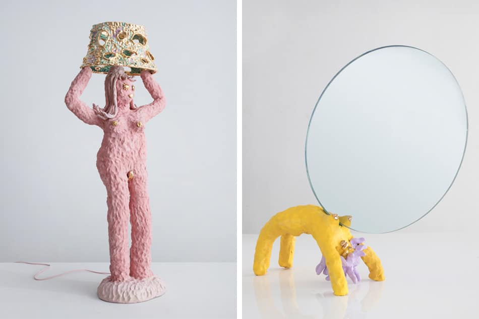 Katie Stout's Pink Large Lady floor lamp and Girl Mirror