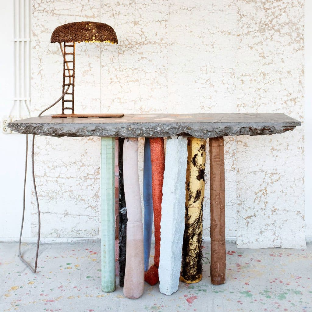 Nacho Carbonell's Fossil console table at Galleria Rossana Orlandi