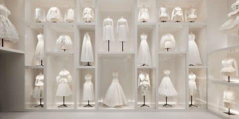 "The Ateliers section in the exhibition ""Christian Dior: Designer of Dreams"" at London's Victoria and Albert Museum"