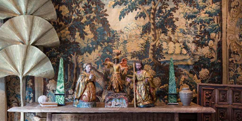 A Gobelins tapestry and Guatemalan nativity scene at the RRL gallery