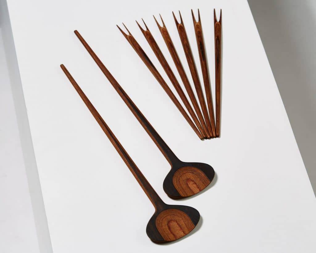Tapio Wirkkala wood serving spoons and olive forks Modernity Stockholm