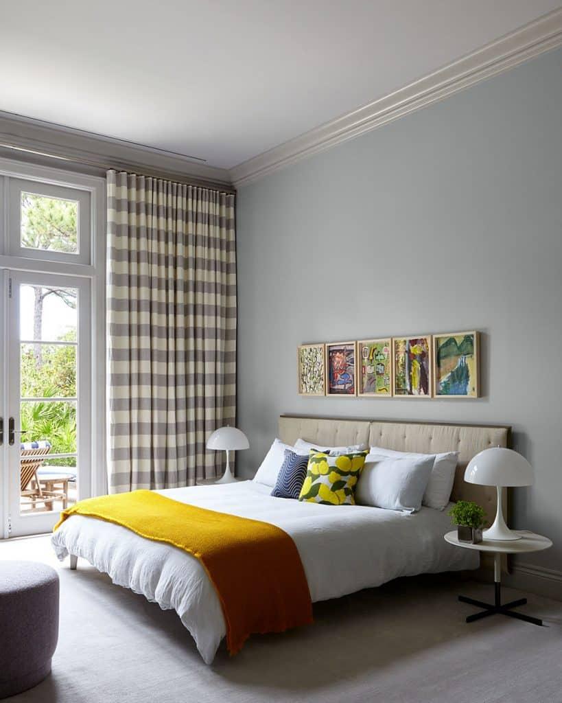 A guest bedroom in Jupiter, Florida, designed by Frampton Co.