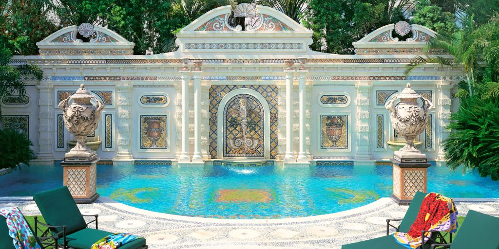 The Italianate pool designed by Gianni Versace in Miami Beach, photographed by Tim Street-Porter.