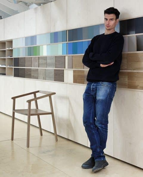 Milan furniture designer Giacomo Moor portrait Achair Acollection