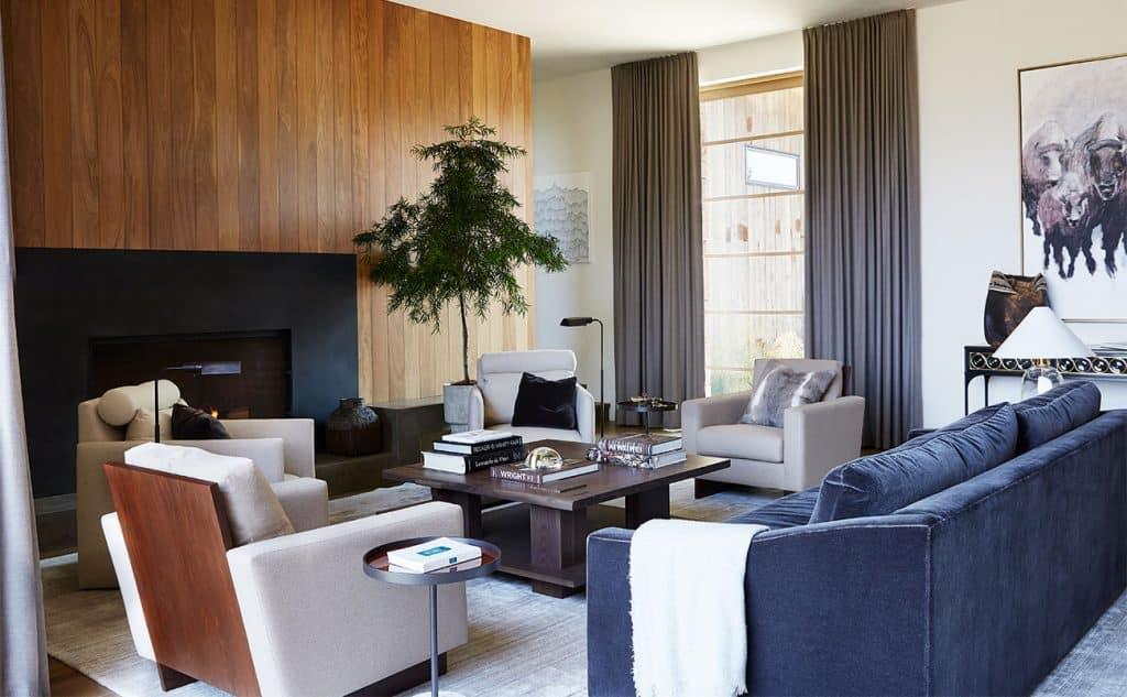 WRJ Design Associates Jackson Hole Wyoming Rush Jenkins Klaus Baer Snake River view house living room Natural Elegance