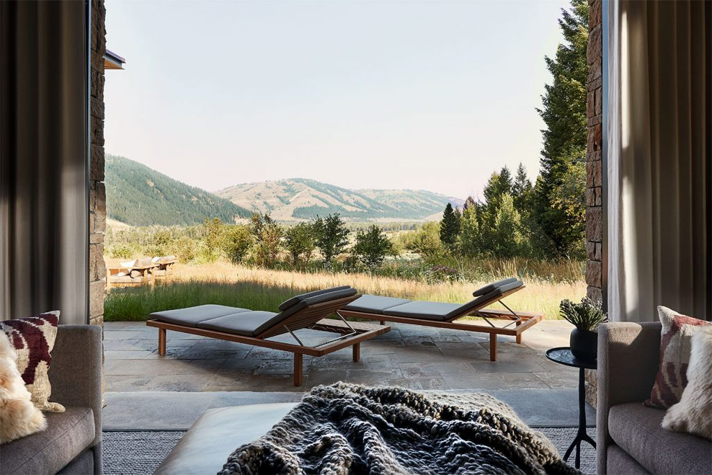 WRJ Design Associates Jackson Hole Wyoming Rush Jenkins Klaus Baer Snake River view house patio outdoors Natural Elegance