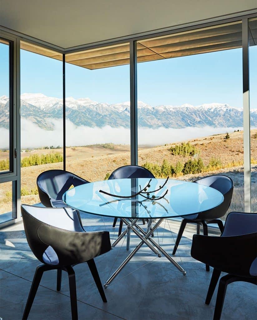 WRJ Design Associates Jackson Hole Wyoming Rush Jenkins Klaus Baer glass walled dining room views Natural Elegance