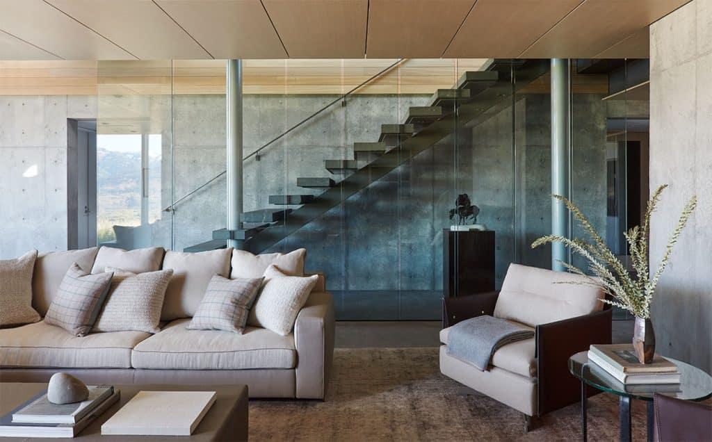 WRJ Design Associates Jackson Hole Wyoming Rush Jenkins Klaus Baer Snake River living room minimalist Natural Elegance