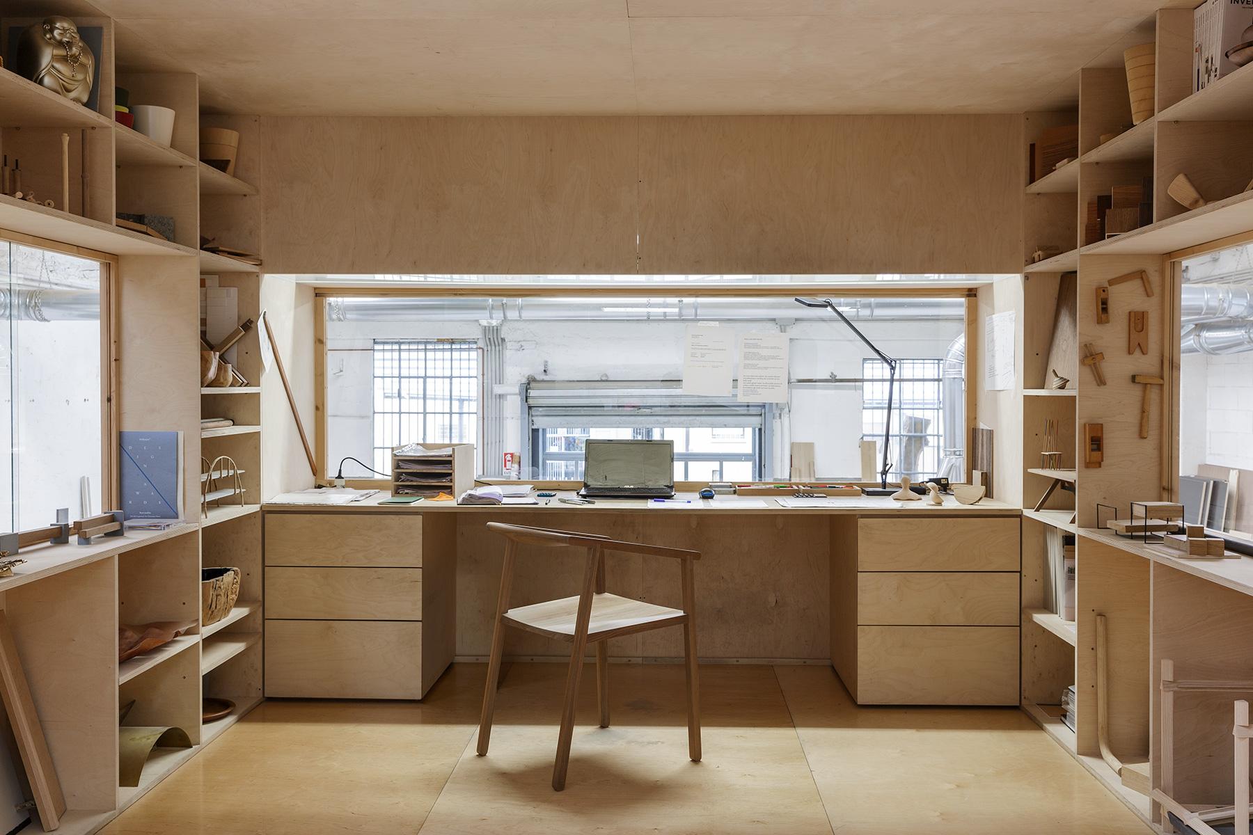 Milan furniture designer Giacomo Moor office workshop