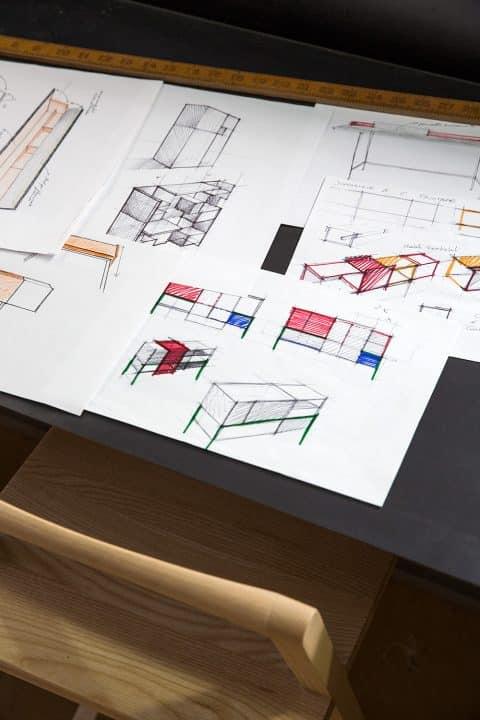 Milan furniture designer Giacomo Moor office workshop drawings sketches plans