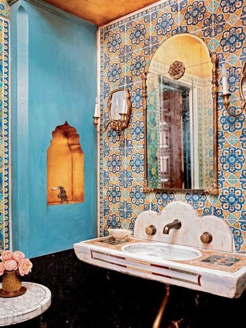 Painted tile powder room by Madeline Stuart