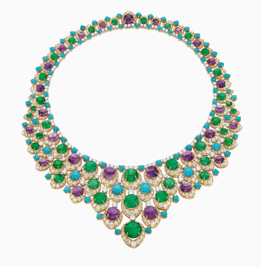 Bulgari Necklace in gold and platinum with emeralds, amethysts, turquoise and diamonds, 1965