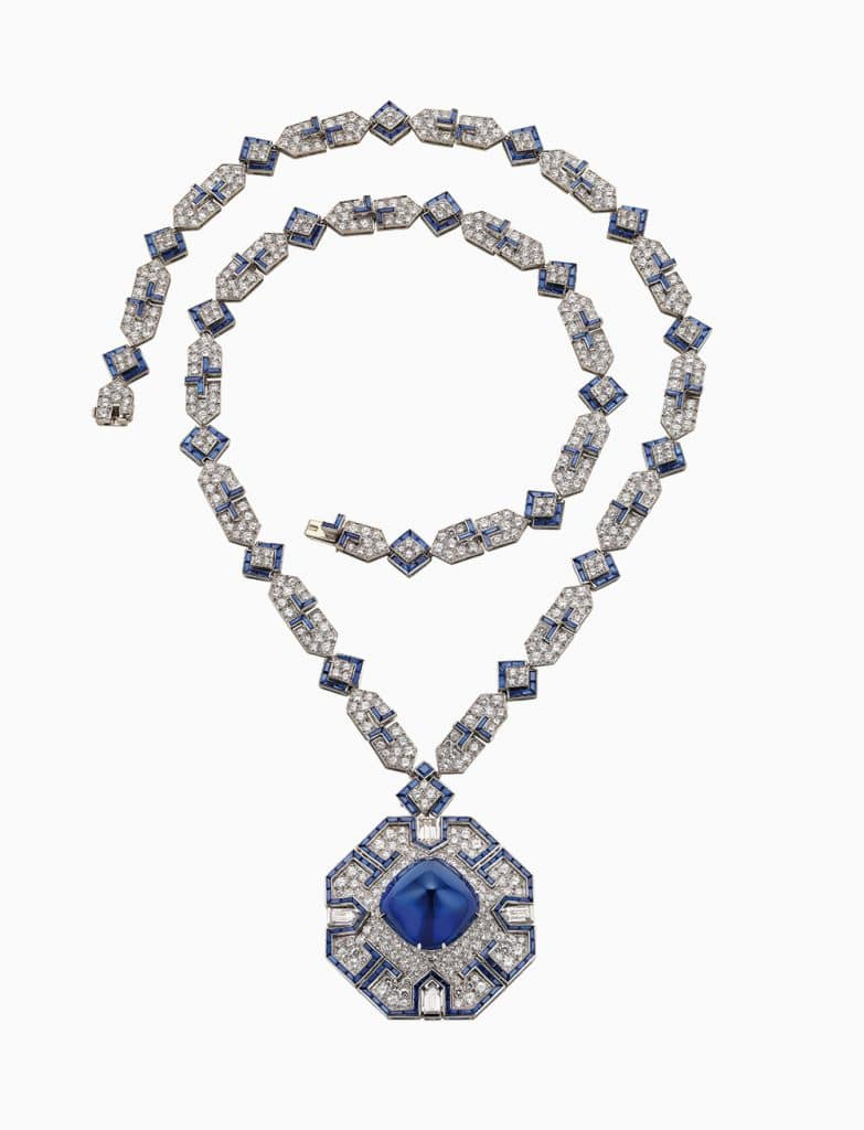 Bulgari Sautoir in platinum with sapphires and diamonds, 1969 (formerly in the collection of Elizabeth Taylor)
