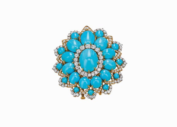 Bulgari Brooch in gold and platinum with turquoise and diamonds, ca. 1969