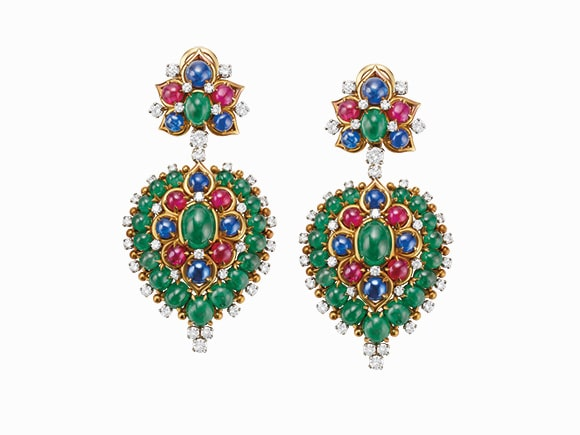 Bulgari Earrings in gold and platinum with emeralds, sapphires, rubies and diamonds, ca. 1960