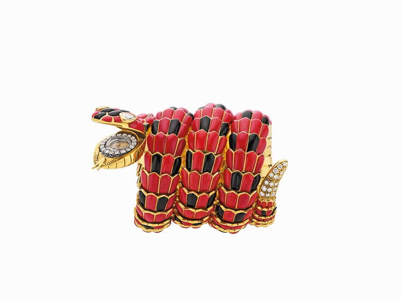 Bulgari Serpenti bracelet-watch in gold with coral, onyx and diamonds, ca. 1970