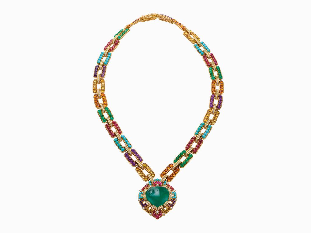 Bulgari Sautoir in gold with emeralds, rubies, amethysts, citrines and diamonds, 1969