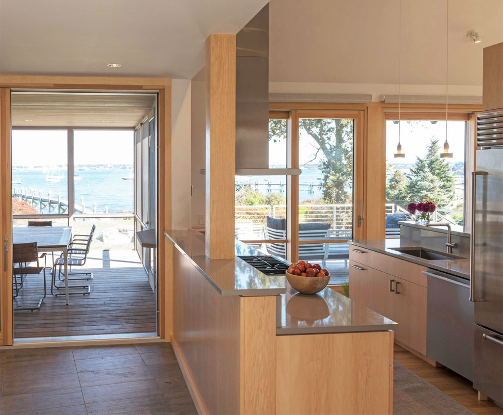 Jim Estes Peter Twombly Estes Twombly architects Jamestown Rhode Island dumplings house kitchen entry dining screened porch