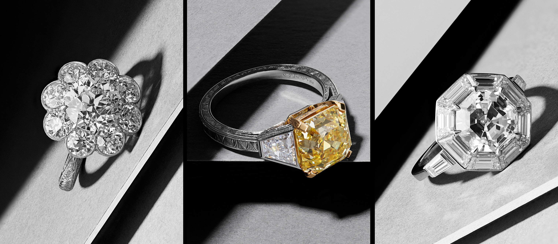 Hancocks 5.54-carat old European brilliant cut diamond cluster ring, 4.97-carat fancy intense yellow Asscher-cut diamond ring, 3.02-carat octagonal step-cut diamond ring with geometric diamond surround