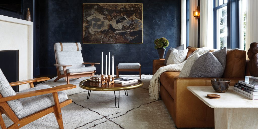 A sitting room at a Marie-Christine McNally designed home in Watermill, NY