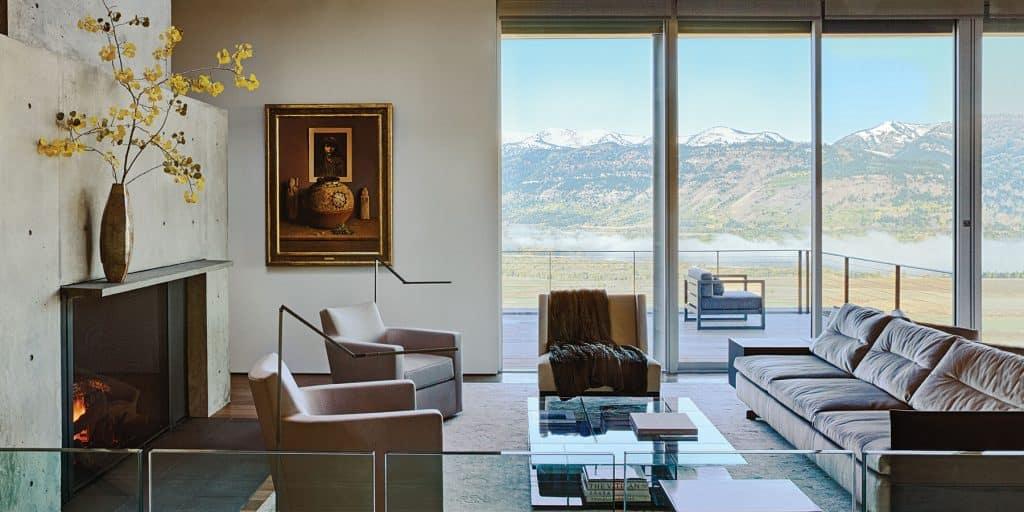 WRJ Design Associates Jackson Hole Wyoming Rush Jenkins Klaus Baer portrait glass walled living room house Natural Elegance