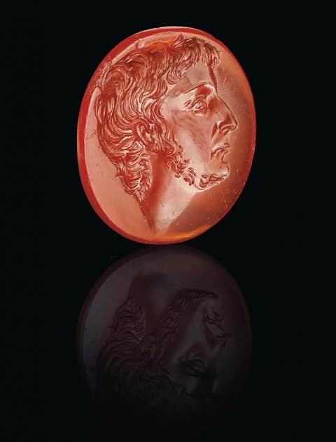 Roman carnelian ringstone with a portrait of Octavian, ca. mid-1st century B.C.