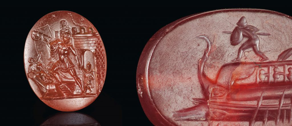 Left: Roman carnelian ringstone with the escape from Troy, ca. late 1st century B.C. Right: Greek carnelian scaraboid with Protesilaos