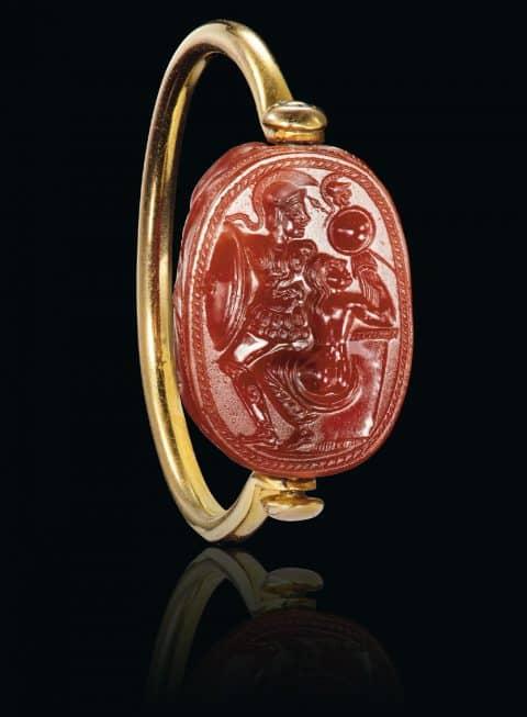 Etruscan carnelian scarab with the rape of Cassandra, ca. mid-5th century B.C.
