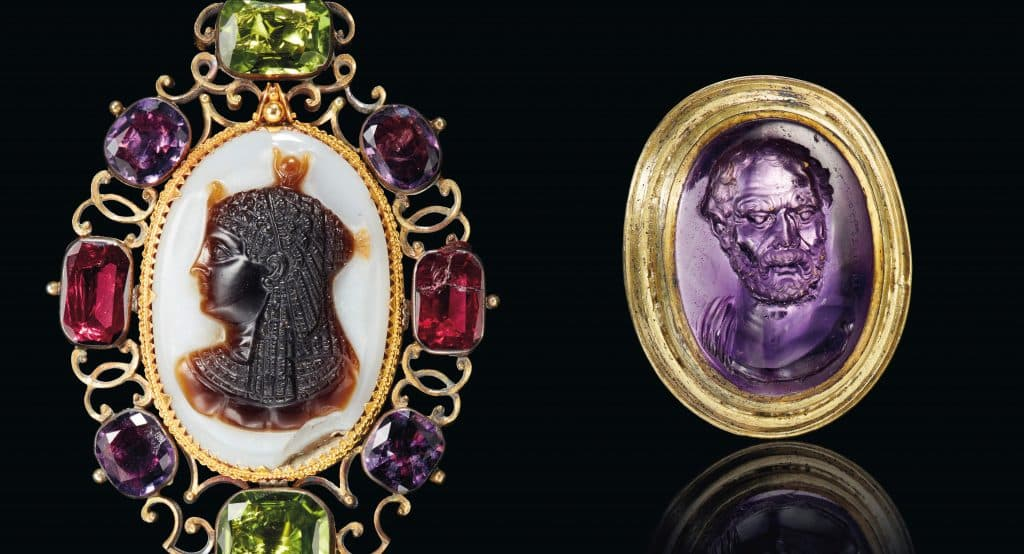 Left: Roman Sardonyx cameo of Isis, ca. 1st century B.C.-1st century A.D. Right: Portrait of Demosthenes - A Roman Amethyst Ringstone with a Portrait of Demosthenes signed by Dioskourides, circa late 1st century B.C.