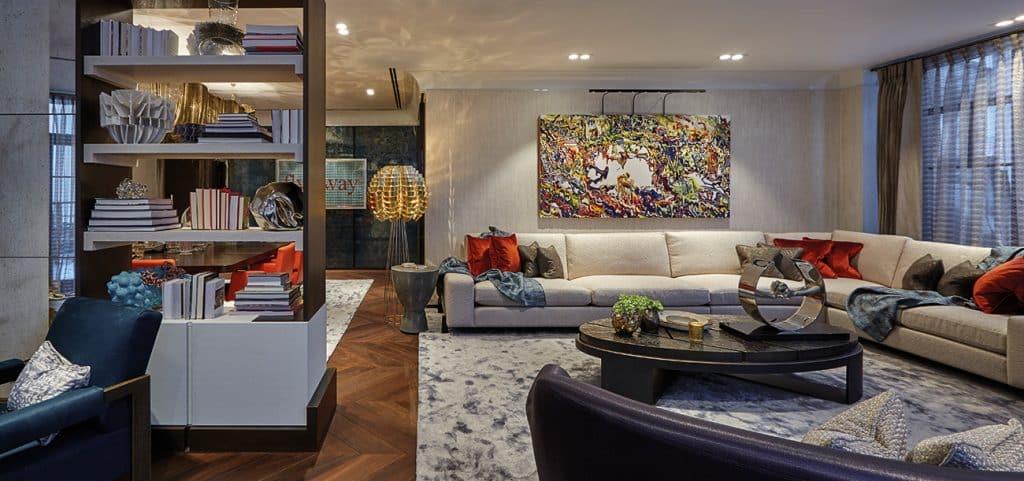 British Designer Fiona Barratt-Campbell Moscow apartment living room Elemental book Rizzoli