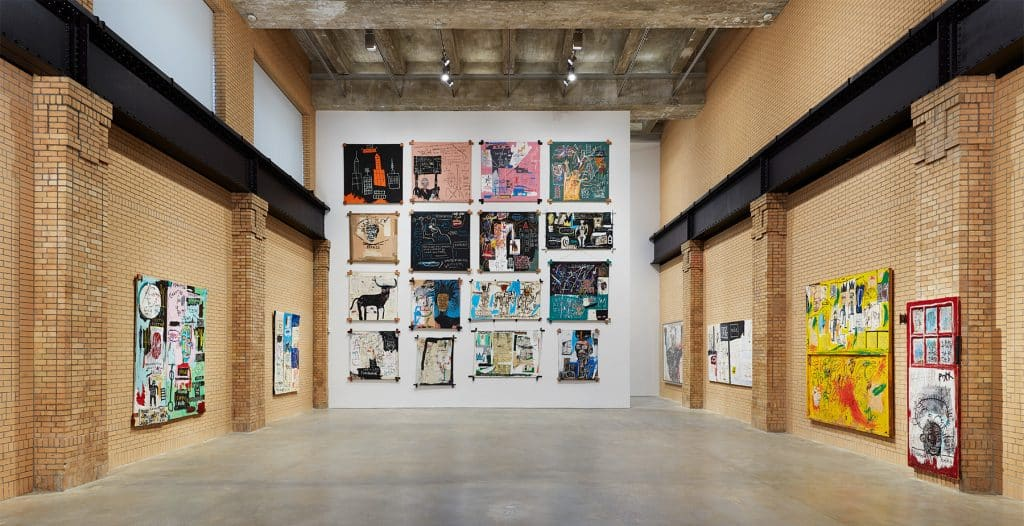 """Installation view of the exhibition """"Jean-Michel Basquiat"""" at the Brant Foundation in New York City"""