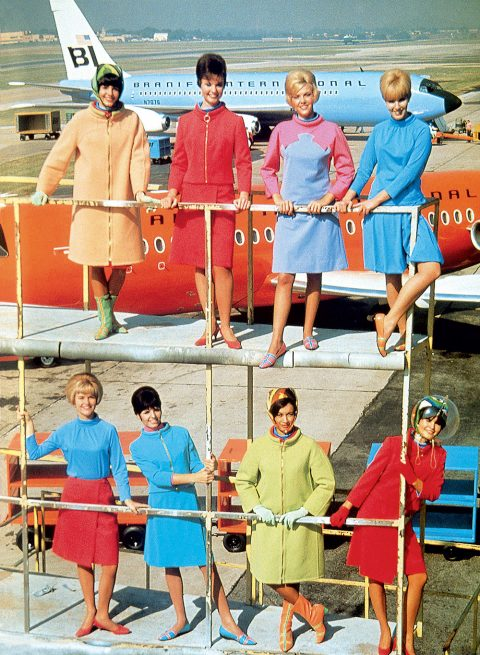 Emilio Pucci hostess uniforms for Braniff Airlines 1966