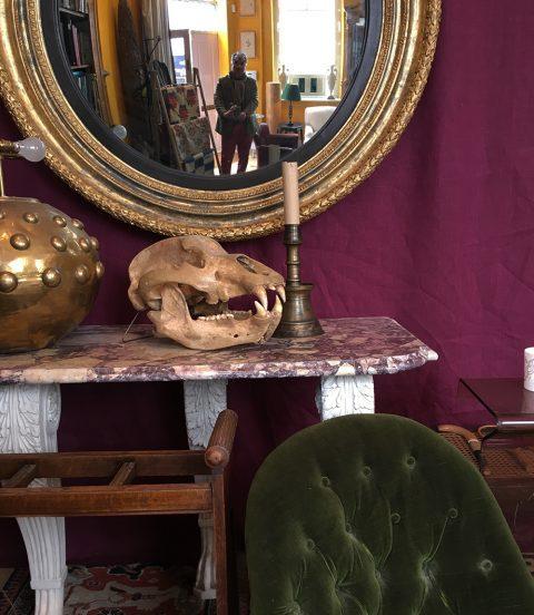 Miguel Flores-Vianna in the shop of London antiques dealer Christopher Hodsoll