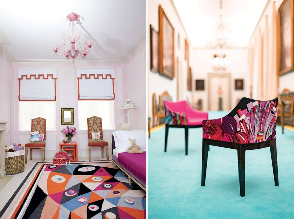 Emilio Pucci print rug and chairs