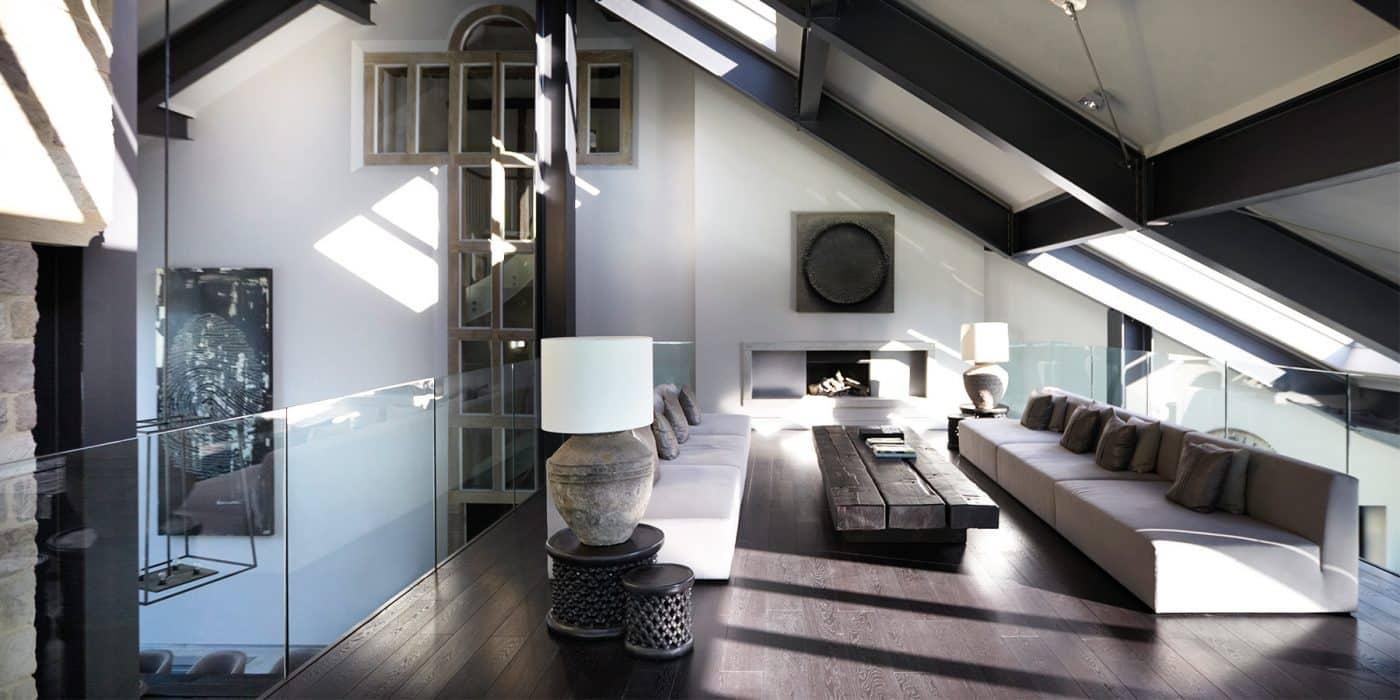 British Designer Fiona Barratt-Campbell Yorkshire manor mezzanine Elemental book Rizzoli