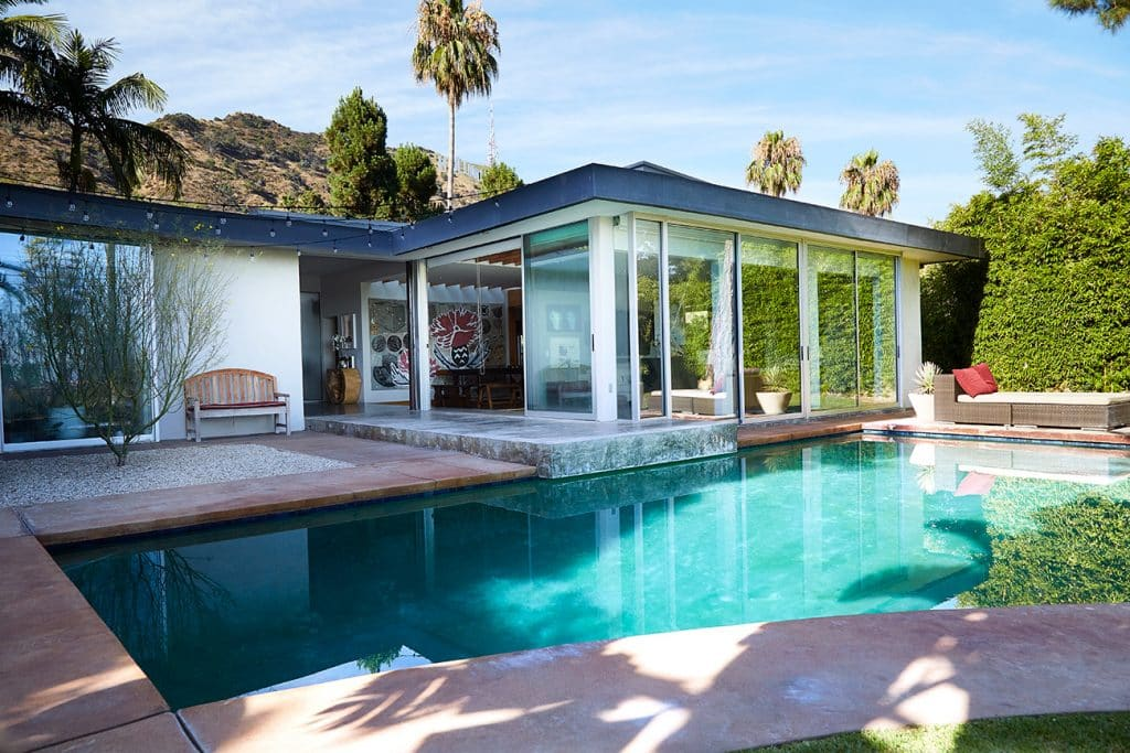 Los Angeles–based artist Paul Rusconi Hollywood Hills home pool and patio terrace