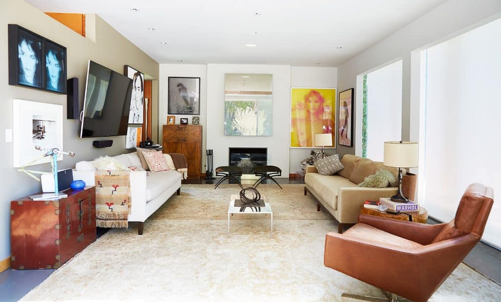 Los Angeles–based artist Paul Rusconi Hollywood Hills home living room