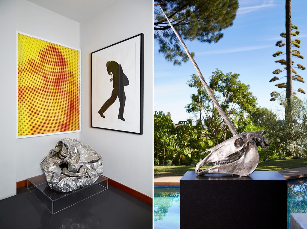 Los Angeles–based artist Paul Rusconi Hollywood Hills home living room John Chamberlain Damien Hirst