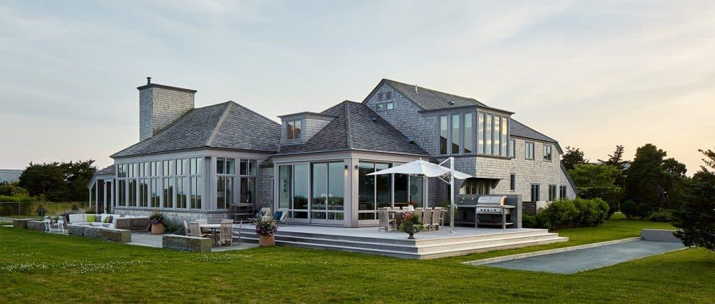 Interior designer Heather Wells architect Karen Conway home Martha's Vineyard exterior pool deck