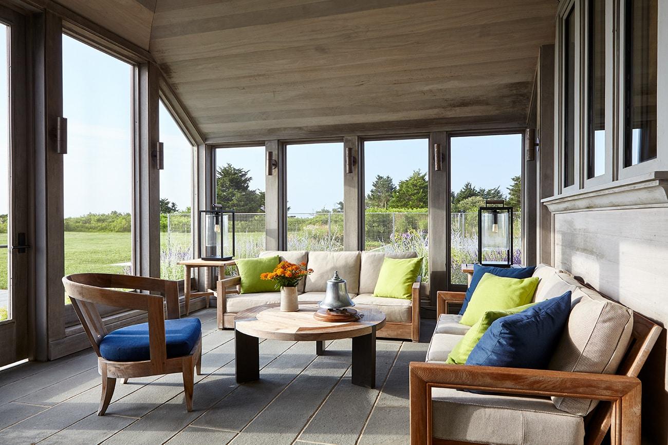 Interior designer Heather Wells architect Karen Conway home Martha's Vineyard porch