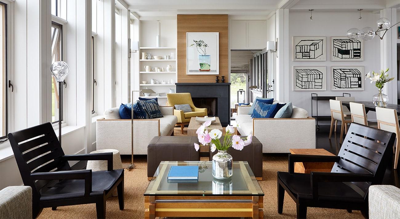 Interior designer Heather Wells architect Karen Conway home Martha's Vineyard living area