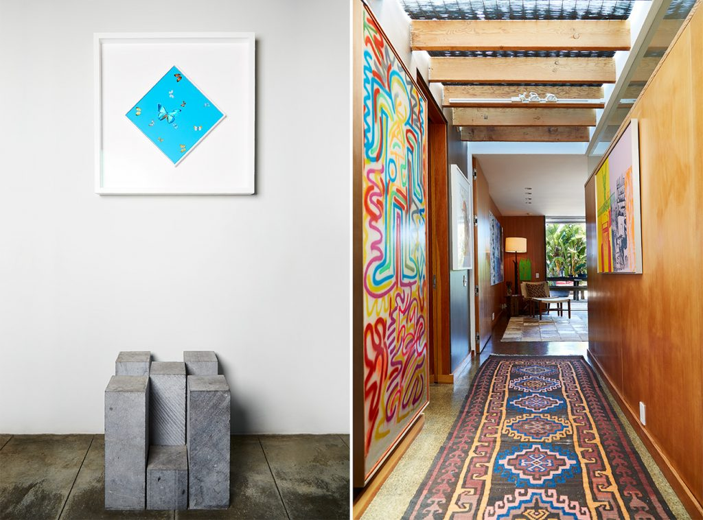 Los Angeles–based artist Paul Rusconi Hollywood Hills home entry and hallway