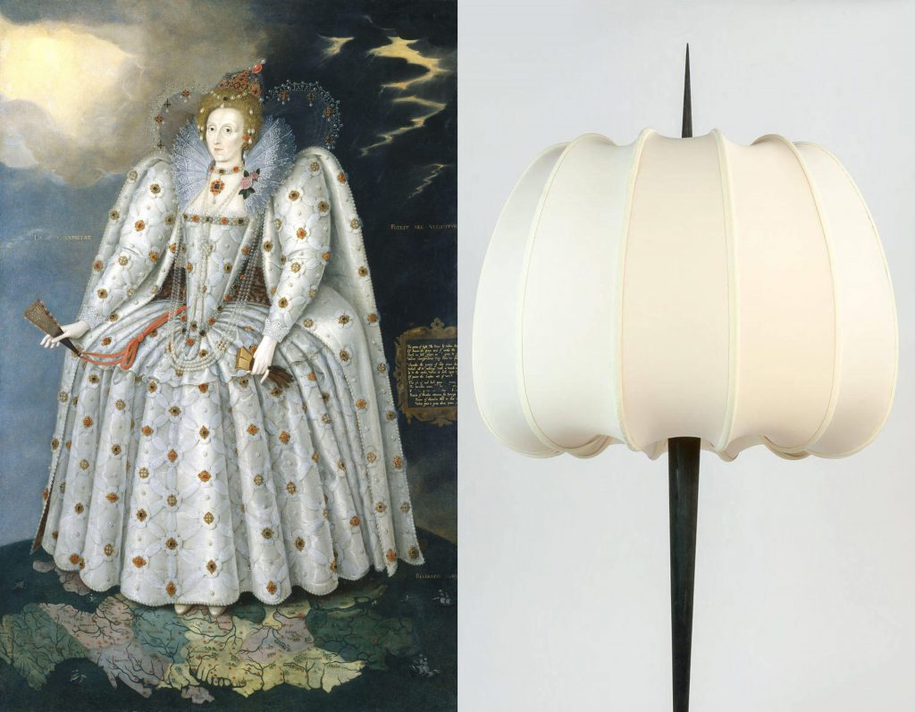 "The ""Ditchley portrait"" of Queen Elizabeth I by Marcus Gheerarts the Younger (left) inspired the shape of the Japanes silk shade on Salvagni's Lancea lamp (right). The lampshade was created by an 85-year-old woman who was formerly Renzo Mongiardano's assistant"