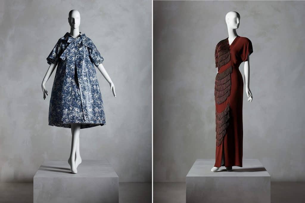 Left: Yves Saint Laurent for House of Dior ensemble, spring/summer 1958; Right: Gilbert Adrian evening dress, fall 1945