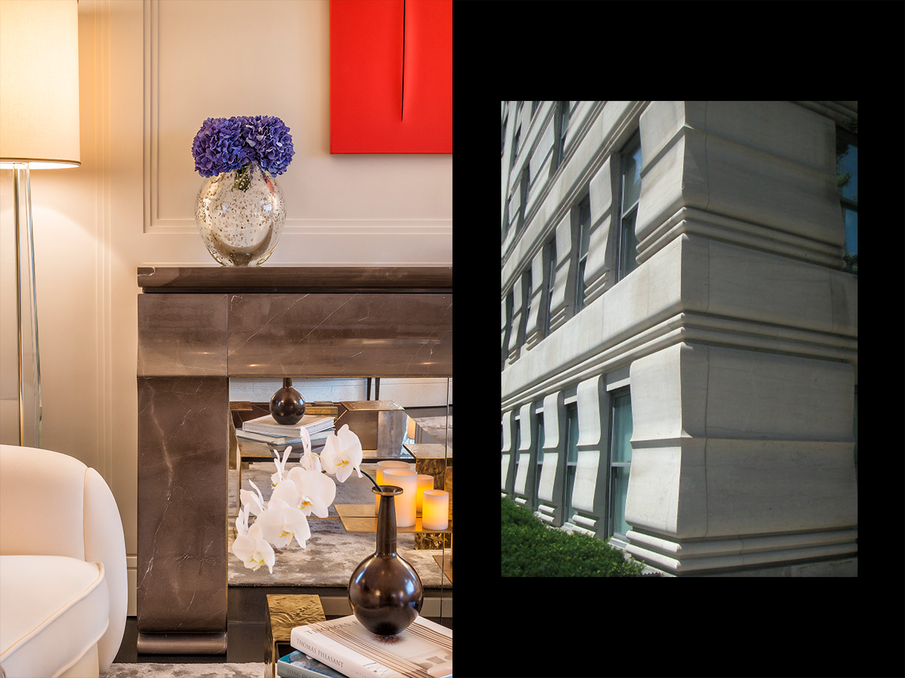 inspiration for the fireplace in this New York pied-a-terre comes from the architecture of the Rosario Candela-designed building at 19 East 76th Street in Manhattan