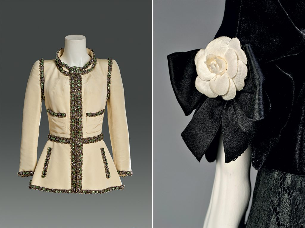 Chanel evening jacket and evening dress detail