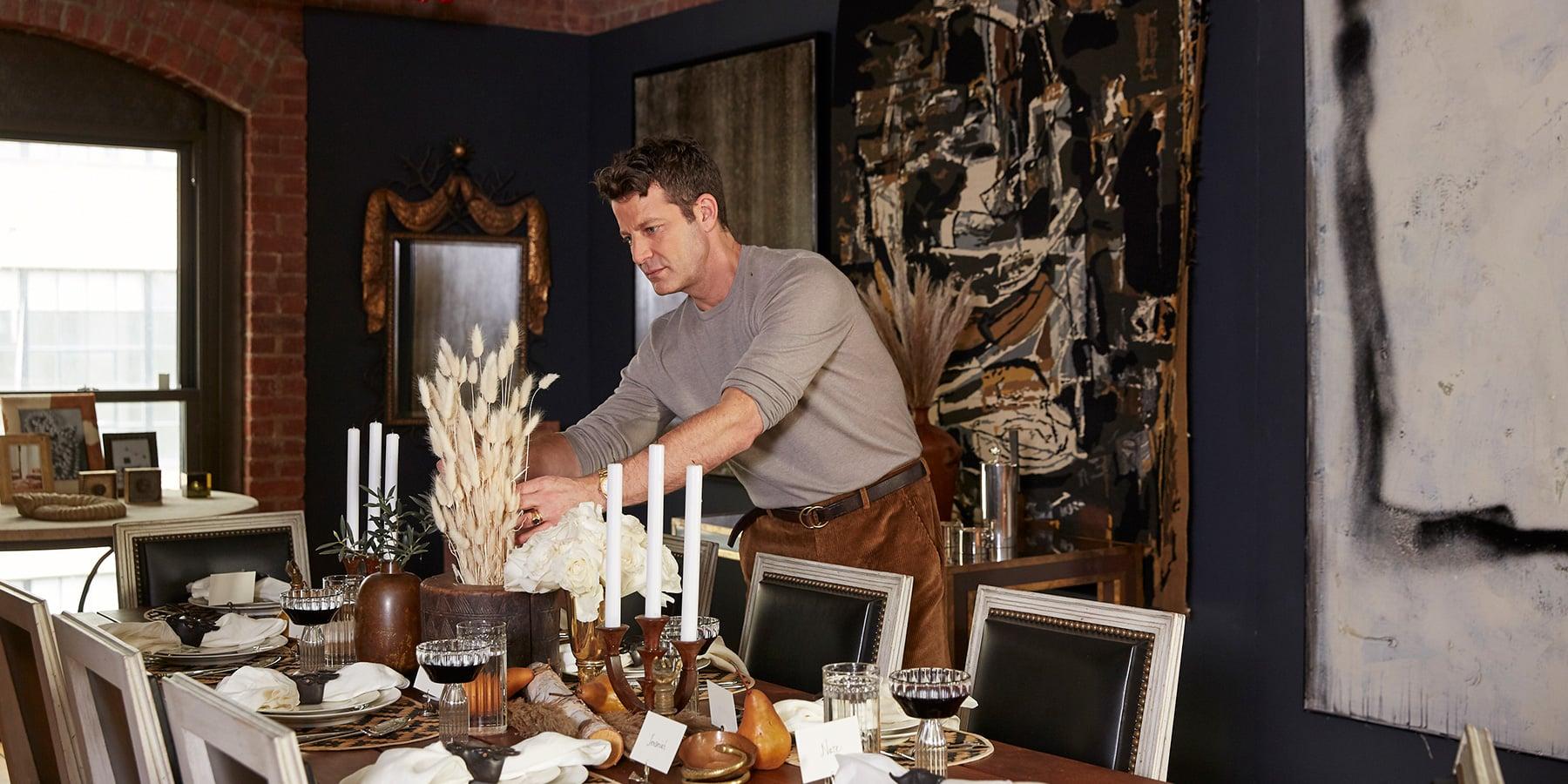 Nate Berkus decorating a table