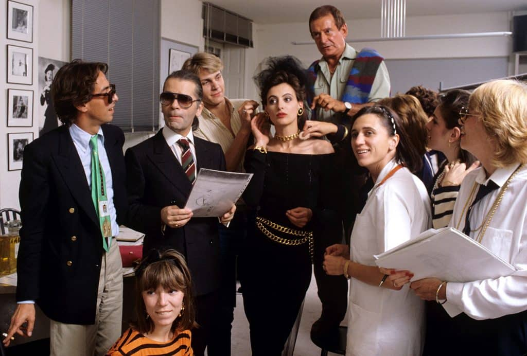 Ines De La Fressange and Karl Lagerfeld At Chanel