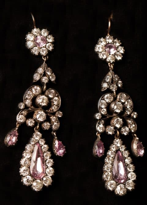 Diamond Pink Topaz Silver Topped Gold Earrings